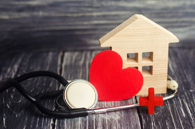 World health day, the concept of family medicine and insurance. stethoscope and heart