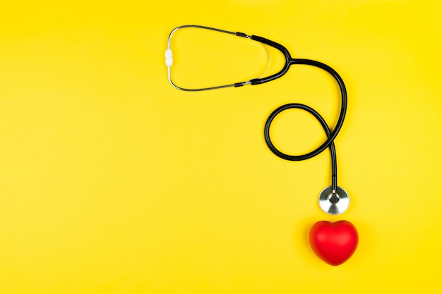 World health day concept healthcare medical insurance with red heart and stethoscope