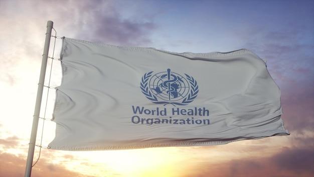Флаг всемирной организации здравоохранения развевается на фоне ветра, неба и солнца. 3d рендеринг