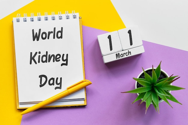 World kidney day of spring month calendar march.