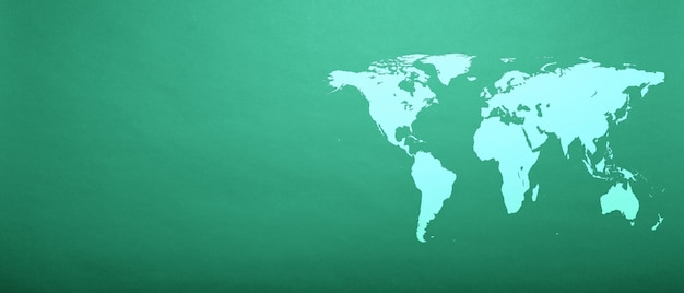 World map on aqua menthe paper