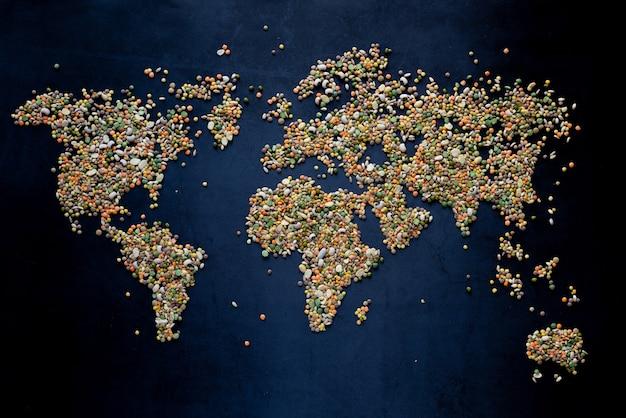 The world map, conceptual awareness of vegetarian education no ogm