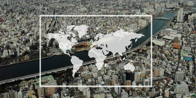 世界地図大陸グローバルサポートグラフィック
