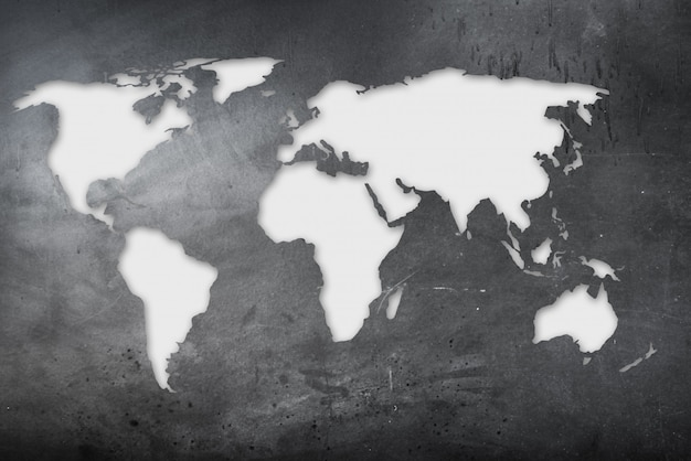 World map in grunge background