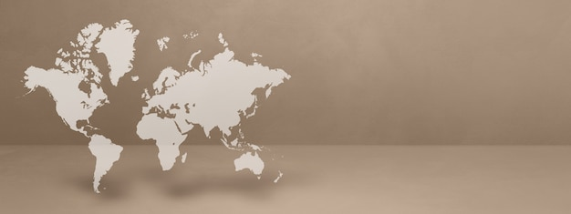 World map isolated on beige wall background. 3d illustration. horizontal banner
