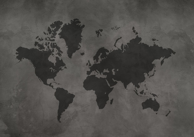 World map isolated on black concrete wall background