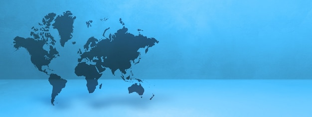World map isolated on blue wall background. 3d illustration. horizontal banner