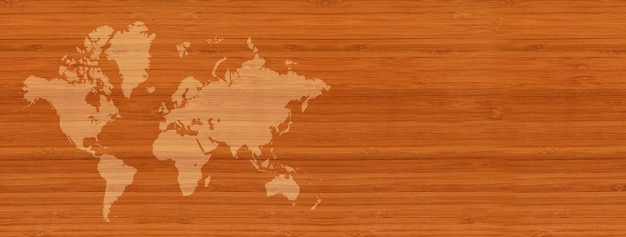 World map isolated on brown wooden wall background. horizontal banner
