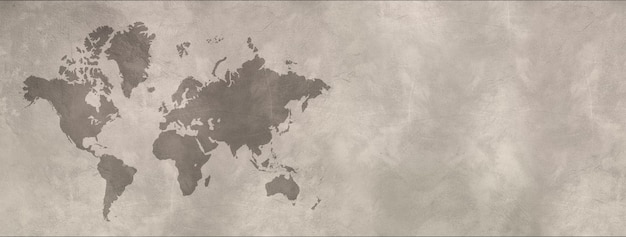 World map isolated on concrete wall background. horizontal banner