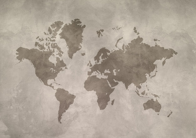 World map isolated on concrete wall