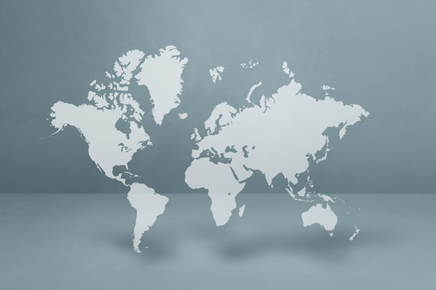 World map isolated on grey surface
