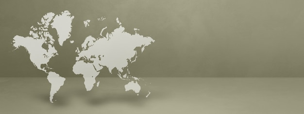 World map isolated on grey wall
