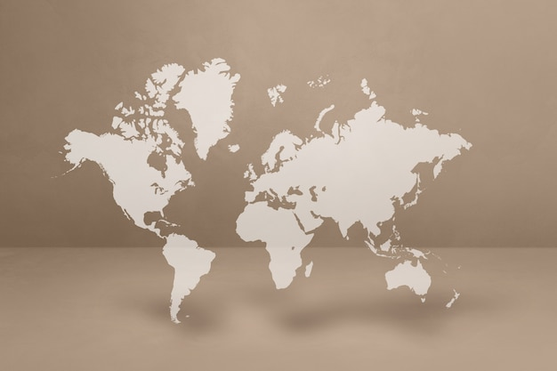 베이지 색 벽 배경에 고립 된 세계지도입니다. 3d 일러스트레이션