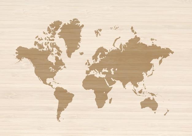 베이지 색 나무 표면에 고립 된 세계지도