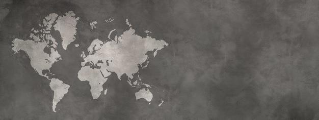 검은 콘크리트 벽 표면에 고립 된 세계지도