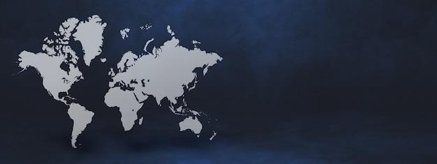 검은 벽 배경에 고립 된 세계지도입니다. 3d 그림.