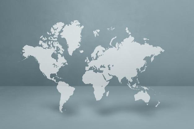 회색 표면에 고립 된 세계지도