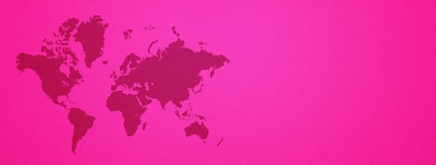 분홍색 벽 배경에 고립 된 세계지도입니다. 가로 배너