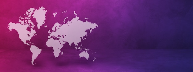 보라색 벽 배경에 고립 된 세계지도입니다. 3d 그림.