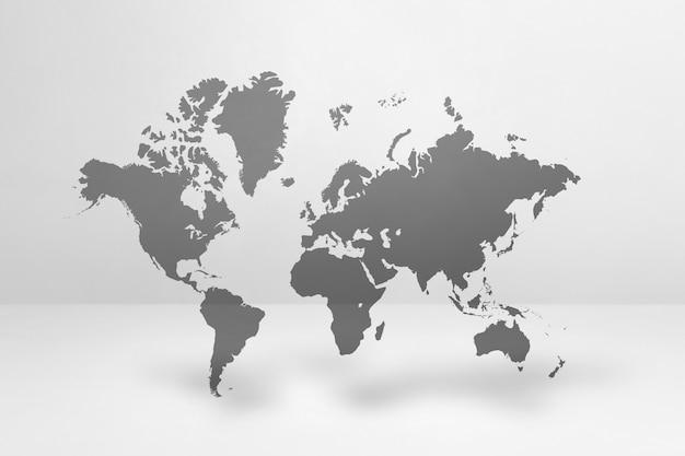 흰 벽 배경에 고립 된 세계지도입니다. 3d 일러스트레이션