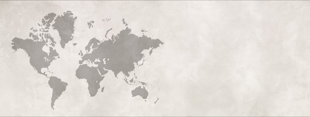 World map isolated on white concrete wall background. horizontal banner