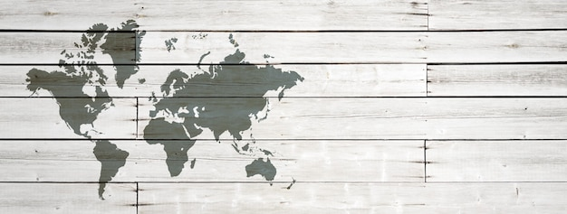 World map isolated on white wooden wall