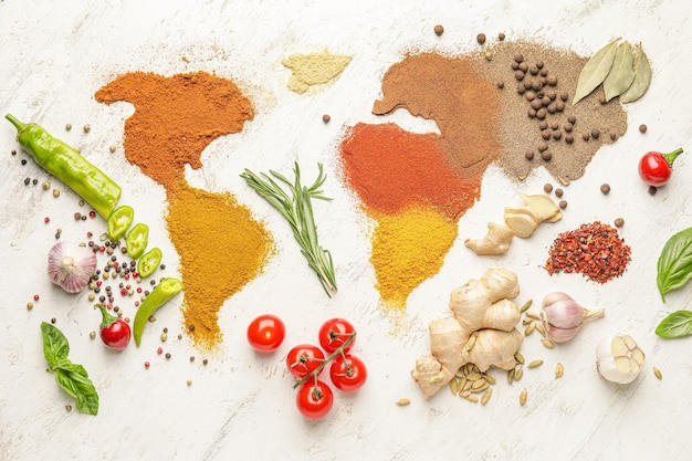 World map made of different spices