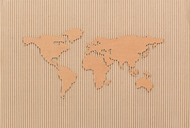 World map made of fiberboard