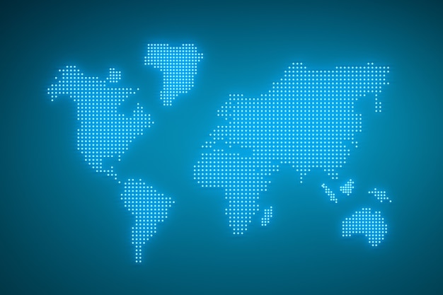 World map made of glowing blue dots with neon effect.