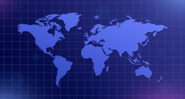 World map on mesh blue background with glare 3d