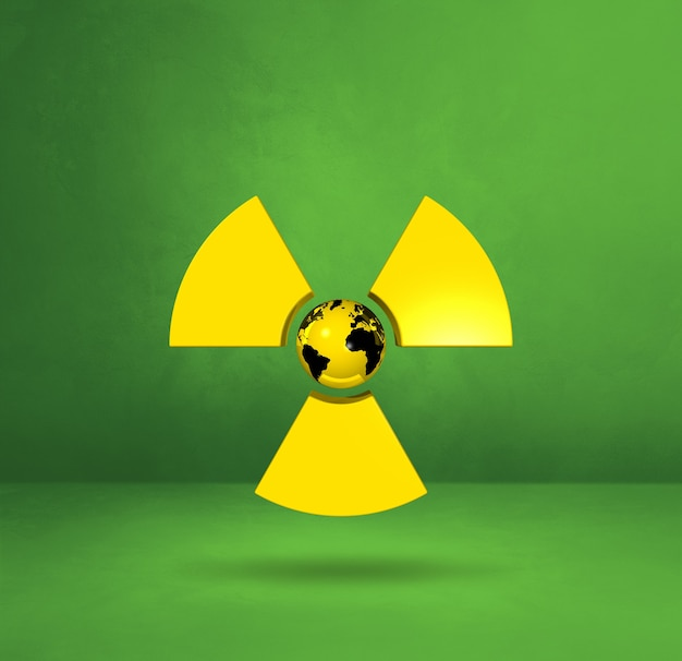 放射性シンボルの世界地図。緑のスタジオの背景。 3dイラスト