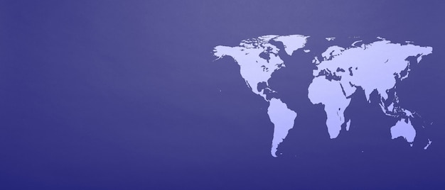 A world map on phantom blue paper background