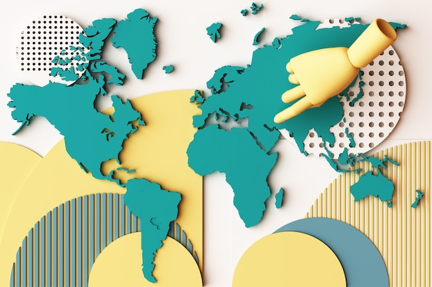 World map with human's hand concept abstract composition of geometric shapes platforms in yellow and green tone. 3d rendering