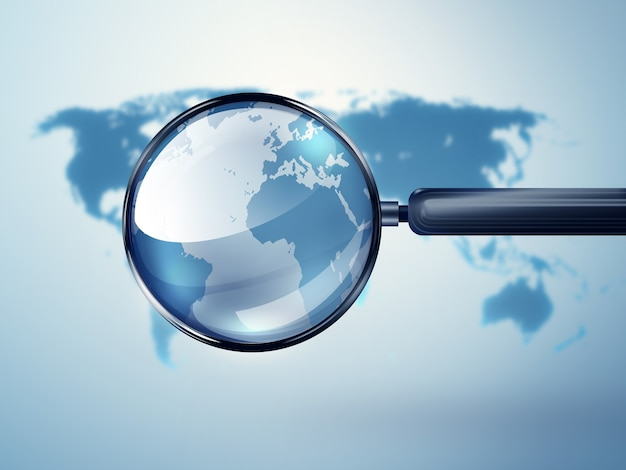 World map with magnifying glass  conceptual image