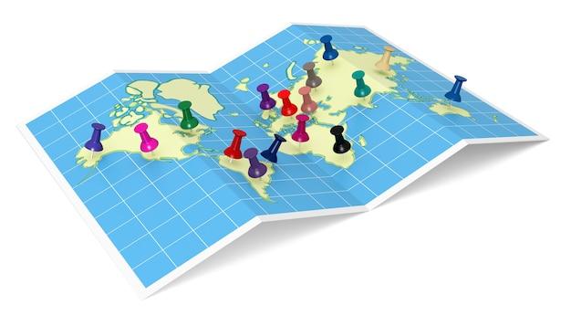 World map with thumbtacks source map httpwwwlibutexasedumapsworldhtml
