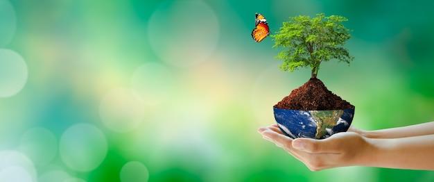 세계 정신 건강과 세계 지구의 날 절약 환경과 세계 생태 개념