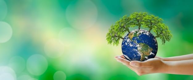 세계 정신 건강과 세계 지구의 날 환경 절약과 세계 생태