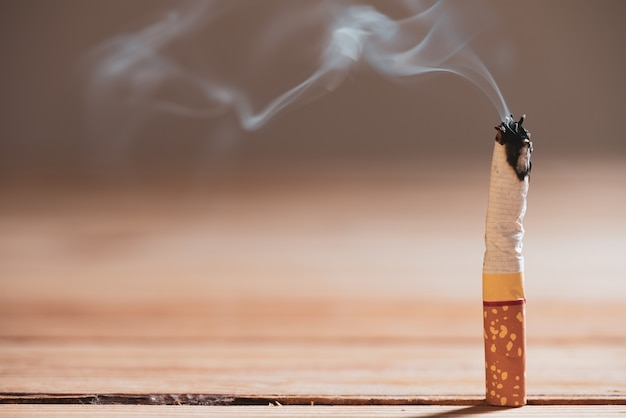 World no tobacco day,  close up burn cigarettes.
