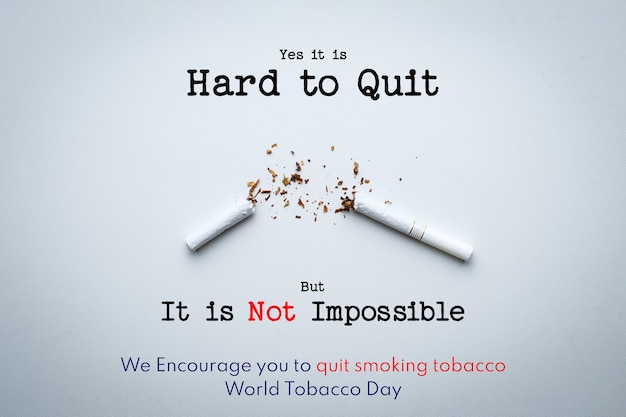 World no tobacco day lettering over white background. stop smoking concept