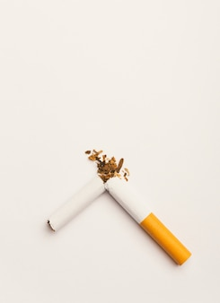 World no tobacco day no smoking close up of broken pile cigarette or tobacco stop symbolic