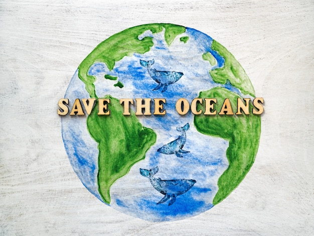 World ocean day. beautiful, bright greeting card