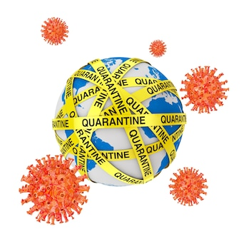 World quarantine concept. covid-19 cells near quarantine yellow tape strips around earth globe on a white background. 3d rendering