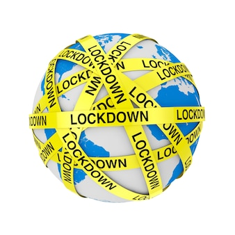 World quarantine concept. covid-19 lockdown yellow tape strips around earth globe on a white background. 3d rendering