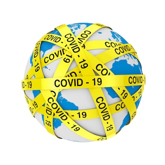 World quarantine concept. covid-19 yellow tape strips around earth globe on a white background. 3d rendering