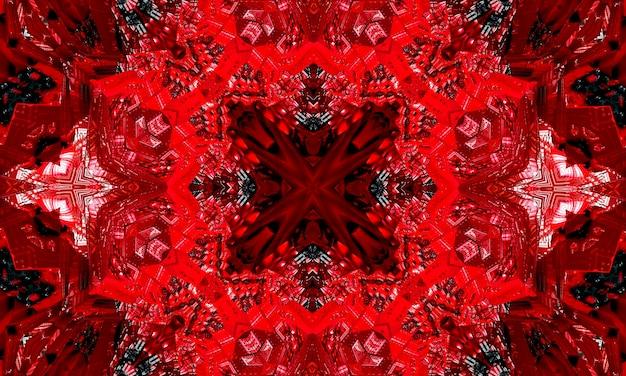 世界赤十字、赤の背景に赤十字のシンボルの万華鏡のイラスト。