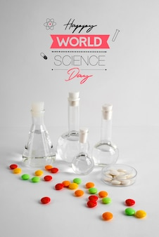 World science day arrangement with chemistry tubes