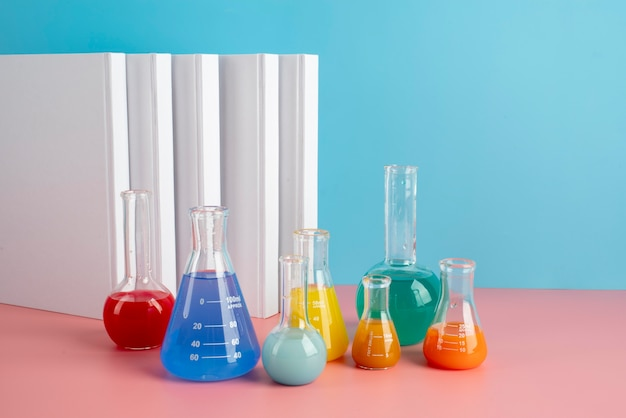 World science day assortment with chemistry tubes