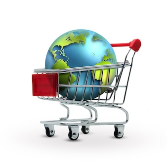 World in shopping cart  sales concept
