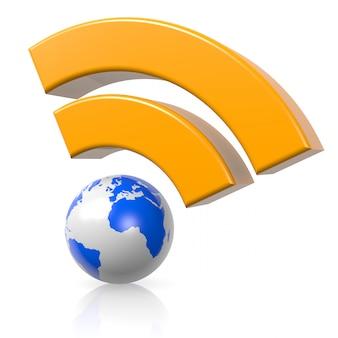 白い背景の上の世界拡散無線信号