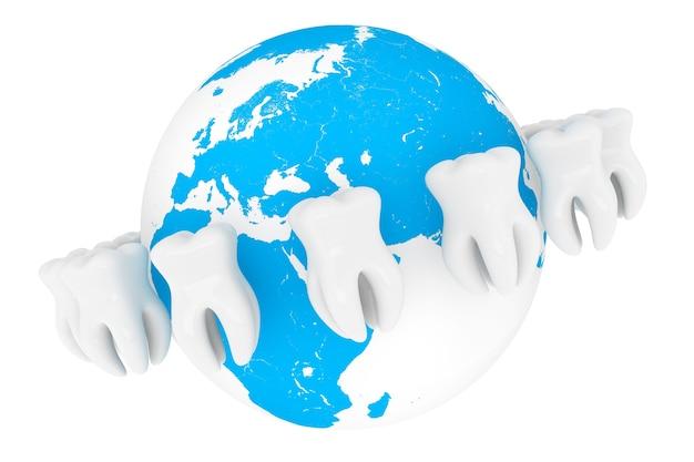 世界の口腔病学の概念。白い背景の上の地球と極端なクローズアップの歯